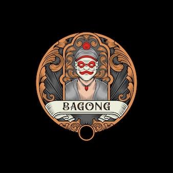 Logotipo vintage da cultura javanesa de bagong