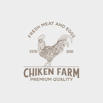 Logotipo vintage da fazenda chiken com estilo desenhado à mão