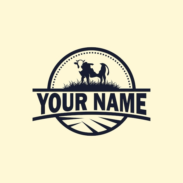 Logotipo vintage da fazenda de gado