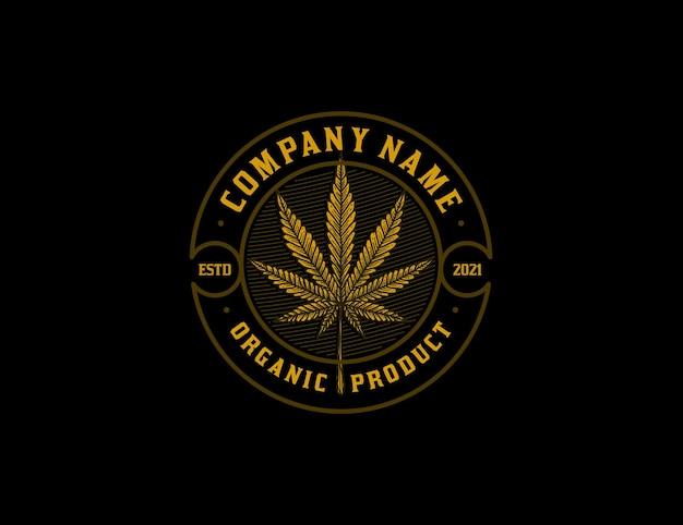 Logotipo vintage da folha de maconha dourada