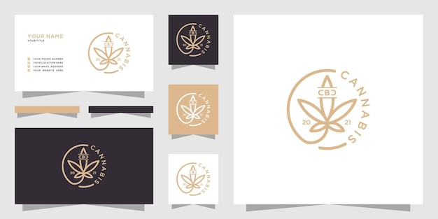 Logotipo vintage da folha de maconha e cartão de visita