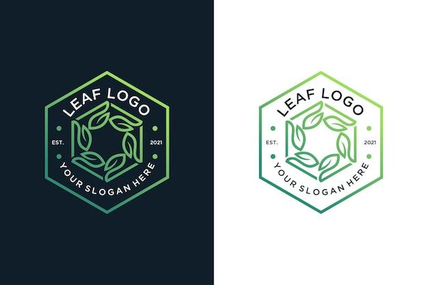 Logotipo vintage da linha verde arte folha