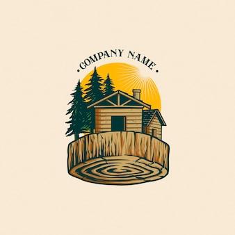 Logotipo vintage da madeira serrada
