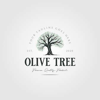 Logotipo vintage da natureza da oliveira