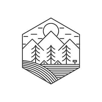 Logotipo vintage da paisagem da natureza