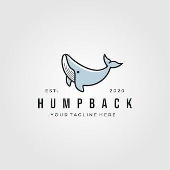 Logotipo vintage de baleia jubarte