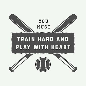 Logotipo vintage de beisebol, emblema