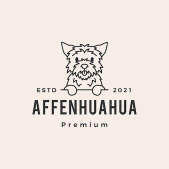 Logotipo vintage de cachorro affenhuahua moderno
