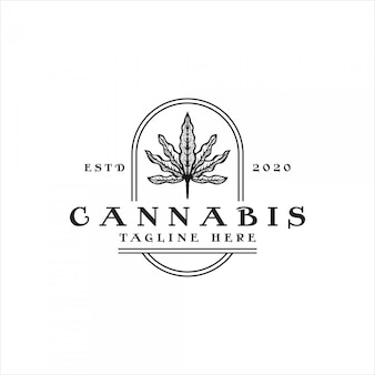 Logotipo vintage de cannabis