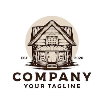 Logotipo vintage de casa de madeira