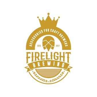 Logotipo vintage de cerveja coroa