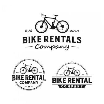 Logotipo vintage de empresa de aluguel de bicicleta