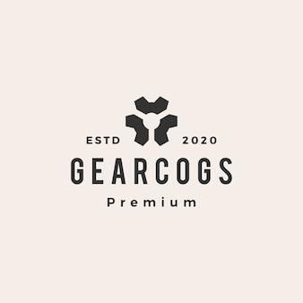 Logotipo vintage de engrenagem cog cogs hipster