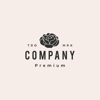 Logotipo vintage de flor rosa hipster