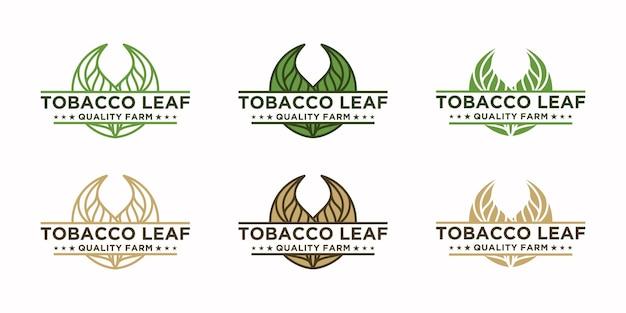 Logotipo vintage de folha de tabaco, referência de logotipo para fazenda de tabaco