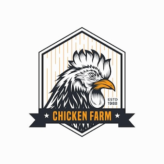 Logotipo vintage de frango galo