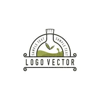Logotipo vintage de garrafa de óleo essencial
