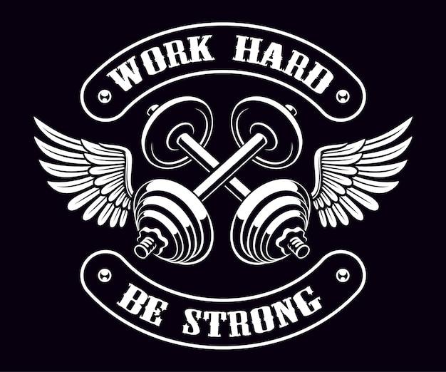 Logotipo vintage de halteres cruzados com asas