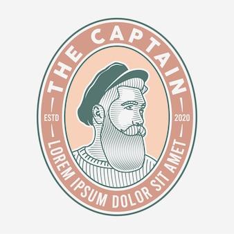 Logotipo vintage de homem barbudo desenhado à mão