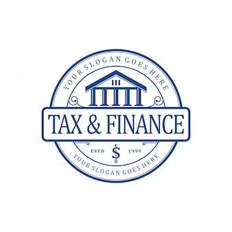 Logotipo vintage de impostos e finanças
