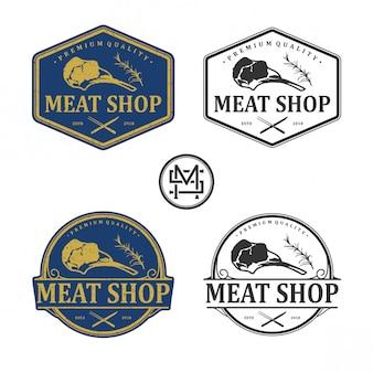 Logotipo vintage de loja de carne