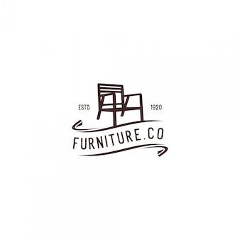 Logotipo vintage de móveis de cadeira