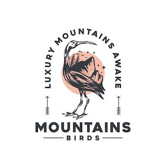 Logotipo vintage de pássaros de montanhas