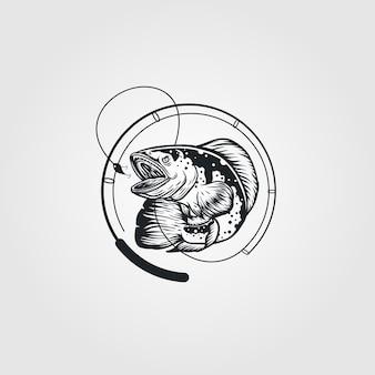 Logotipo vintage de peixe e vara de pescar