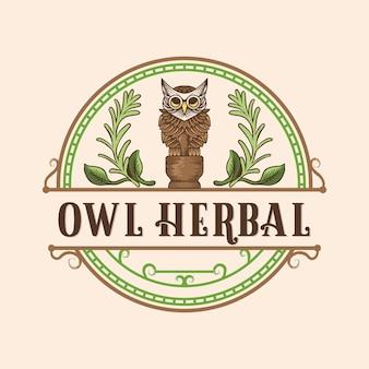 Logotipo vintage de remédios de ervas para coruja