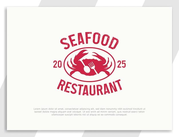Logotipo vintage de restaurante de frutos do mar com ilustração de caranguejo