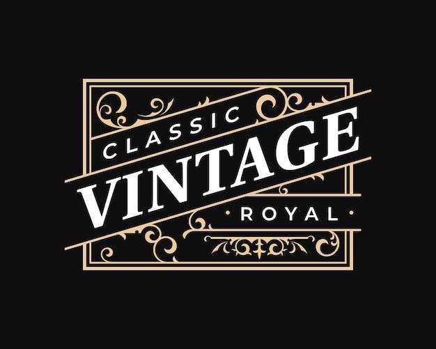 Logotipo vintage de rótulo retangular ornamentado em estilo vitoriano
