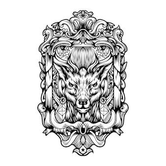 Logotipo vintage de veado