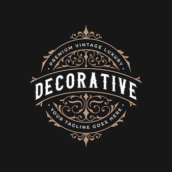 Logotipo vintage decorativo de moldura ornamental luxuosa