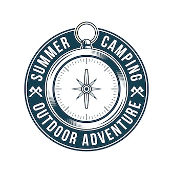 Logotipo vintage, design de vestuário de impressão, ilustração de emblema, remendo, crachá com bússola de metal vintage clássica para viagem, aventura, viagem, viagens, acampamento de verão, explorar ao ar livre.