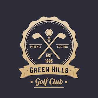 Logotipo vintage do clube de golfe, emblema, tacos de golfe cruzados, dourado no escuro