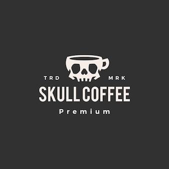 Logotipo vintage do crânio café moderno