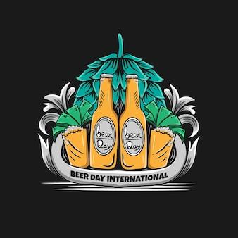 Logotipo vintage do dia da cerveja