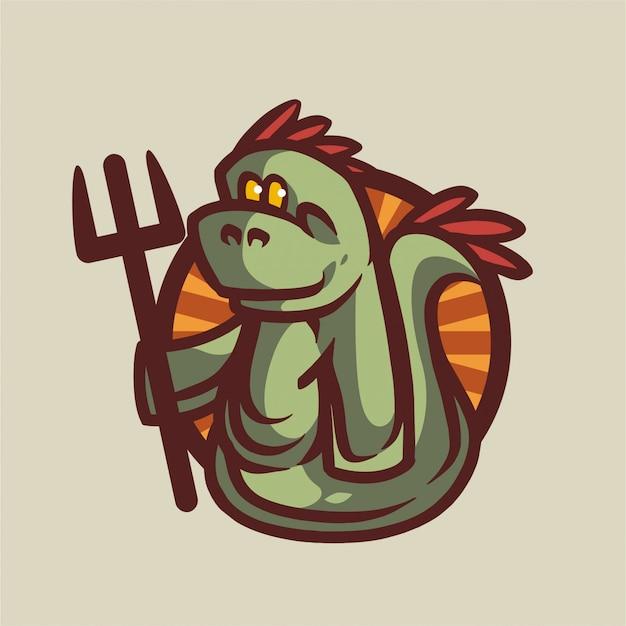 Logotipo vintage do dragon sea