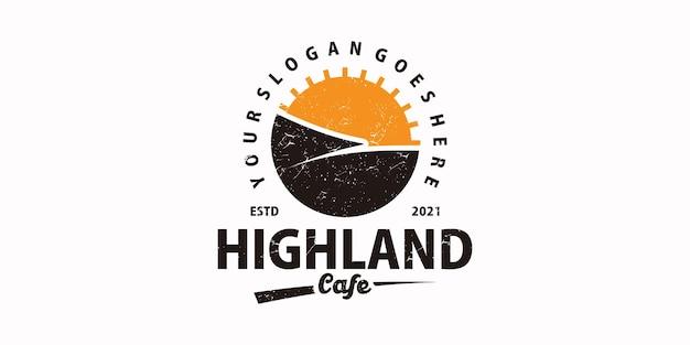 Logotipo vintage do highland cafe, logotipo de referência