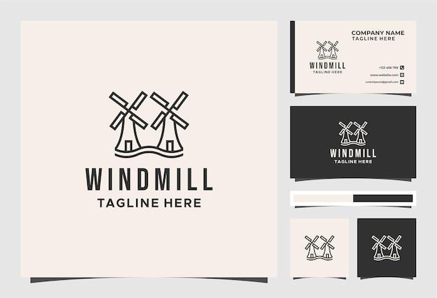 Logotipo vintage do moinho de vento e design de cartão de visita