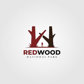 Logotipo vintage do parque nacional redwood