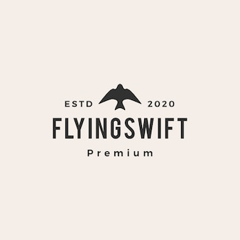 Logotipo vintage do pássaro voando rápido