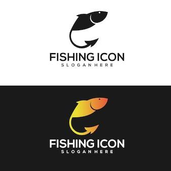 Logotipo vintage do peixe gradiente dourado