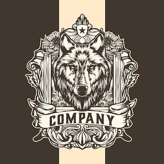 Logotipo vintage do rei lobo