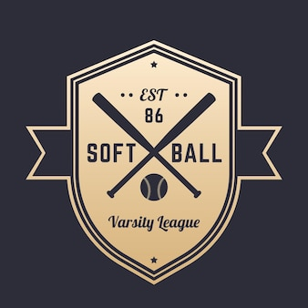 Logotipo vintage do softball, distintivo, design do emblema com bastões cruzados, ouro no escuro, ilustração vetorial