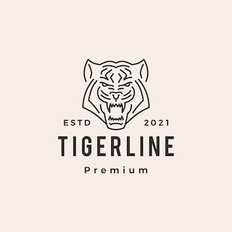 Logotipo vintage do tigre monoline hipster