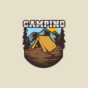 Logotipo vintage e minimalista de acampamento