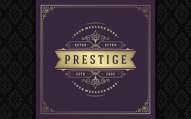Logotipo vintage elegante floresce ornamentos de arte linha