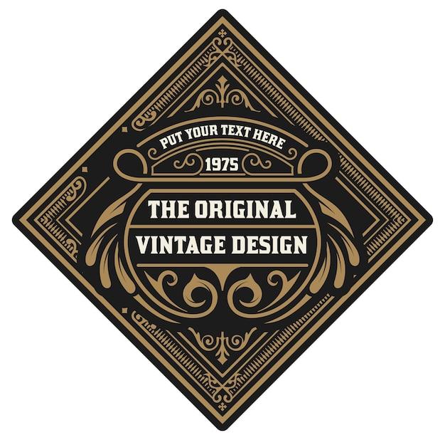 Logotipo vintage em forma de quadrado