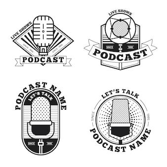 Logotipo vintage em preto e branco de podcast